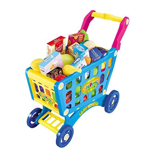 TRULIL Ménage Playsets Jouets Chariot Enfant Shopping Cart Chariot de supermarché Ensemble de Jeu avec des Fruits Légumes Jouet Panier à provisions avec Roues pour garçons Filles 345Ans