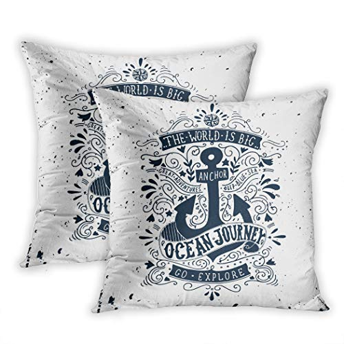 Nekkzi Cushion Covers Set of Two Print Hand Vintage Label with Anchor and Lettering This and Drawn Nautical Quote Sea Sofa Home Decorative Throw Pillow Cover 16x16 Inch Pillowcase Hidden Zipper - Liberty Vintage Shorts