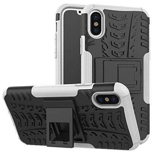 TIODIO® Apple iphone 8 Case Dual Layer Custodia ibrida Rigida Morbido Armatura resistente agli urti con Supporto e asportabile di protezione per Apple iphone 8 Bianco