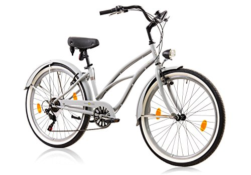 tretwerk DIREKT gute Räder Oceanside Lite Damen Beachcruiser 26 Zoll, Damen-Fahrrad 6 Gang Kettenschaltung - Cruiser Beach Aluminium
