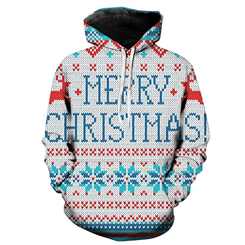 Christmas Pullover Herren Damen Unisex UFODB Männer Weihnachtspullover Casual Sweatshirt Winterpullover Kapuzenpullover Pulli Weihnachtspulli Weihnachtsparty ()