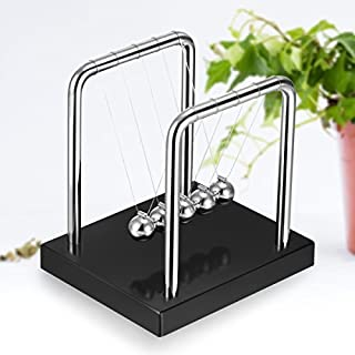 Amtop Newton's Cradle Balance Ball, Up Grade, Art in Motion Toy with Stainless Steel Frame and Solid Wooden Base,Small and Exquisite (Black, Small Size 3.54*3.54*2.95inch)