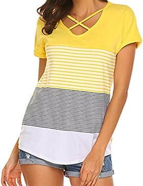 Camiseta Sexy Mujer ❤️ Amlaiworld Camisa de Manga Corta Para Mujer Rayas Casual Camiseta Suelto Tops Blusas de...