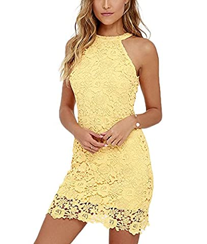 Women's Sexy Halter Sleeveless Round Neck Backless Wedding Midi Lace Party Cocktail Dress