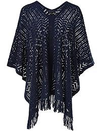Ferand - Chic Poncho Tricot au Crochet Avec Ourlet à Franges, Pull-over Sans Manche Jersey Encolure en V et Motifs Assortis - Femme