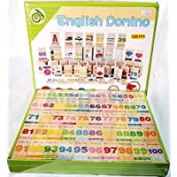 plutofit Wooden English Domino Block Game Set Learn with Fun 100pcs Containing English and Corresponding Pattern for…
