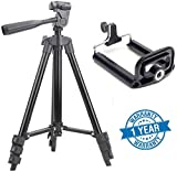 #7: Syvo Tripod - 3120 with Mobile Clip Holder & Carry Travel Bag, Fully Flexible Mount Cum Tripod , 3-Section lever-lock legs for easy height adjustments, Compatible with Go Pro, Canon, Nikon, Sony, Cameras, Camcorders, iPhone & Android Smartphones [Latest 2018 Upgraded Model]