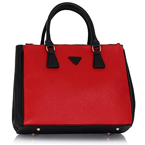 Trend Star Women New Designer handbags shoulder bags leatherette celebrity style fashion Large Tote B - Schwarz/Rot