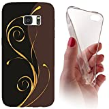Samsung Galaxy J3 (Modell 2016) J320 Softcase Hülle Cover Backkover Softcase TPU Hülle Slim Case für Samsung Galaxy J3 (Modell 2016) J320 (1074 Abstract Schwarz Braun Gold)