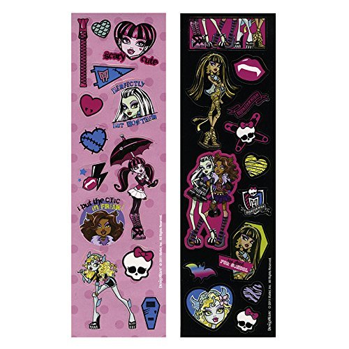 4 Sticker-Streifen * MONSTER HIGH 2 * für Kindergeburtstag und Motto-Party // Party Kinder Geburtstag Party Deko Autocollants Motto Mattel Frankie Stein Monster High Sticker