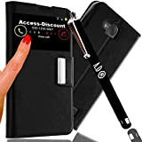 PACK Brand A&D® Etui Housse SAMSUNG GALAXY A3 2016 coque pochette Protection Portefeuille fenetre SVIEW NOIR + STYLET pour Smartphone SAMSUNG GALAXY A 3 6 16 SM-A310F (NON A-3 2015) duos 4g dual sim