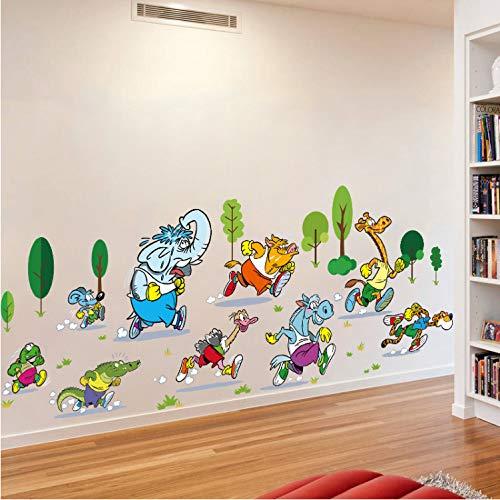 dongwenchao1104 Wandaufkleber Tier Marathon Selbstklebende Wandaufkleber Für Kinderzimmer Kindergarten Baby Zimmer Dekor Art Wall Decals Murals (Bilderrahmen Marathon)