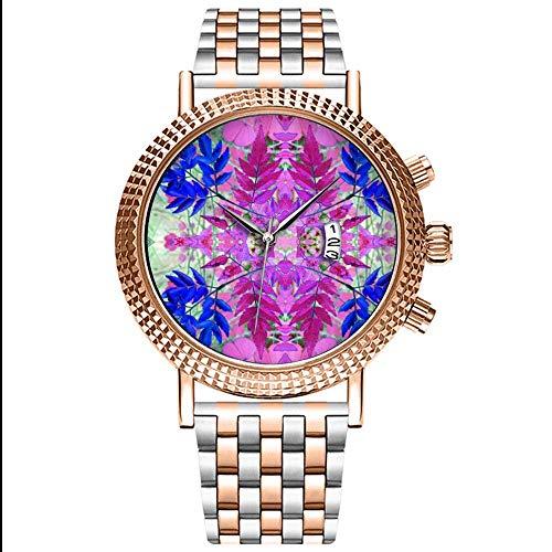 Mode Wasserdichte Herren-Armbanduhr Analog Quarz Edelstahl Mit Gold 046.A Abstract Pink Blue Floral Pattern Wristwatch -