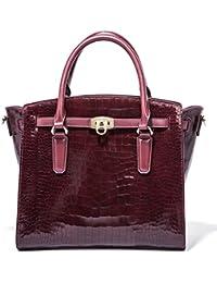 Le sac à dos de femmes en cuir véritable femme première couche de cuir de vache Ladies' à dos Sacs de voyage sacs en cuir rouge foncé Urcr9