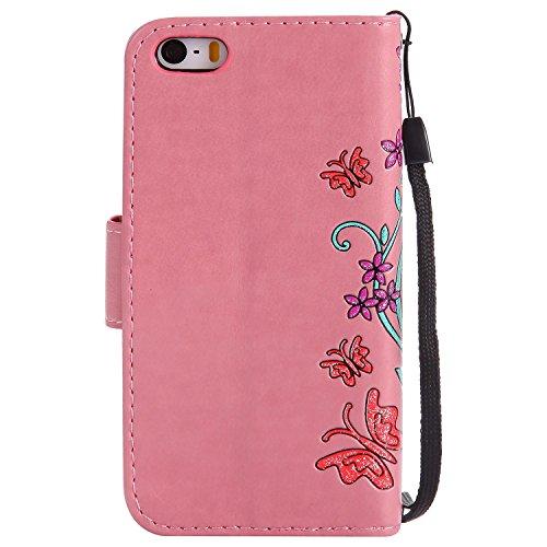 "MOONCASE iPhone 5c Coque, [Embossed Pattern] Durable PU Cuir Portefeuille Housse pour iPhone 5c 4.0"" Anti-dérapante Anti-choc Protection Etui Cases Violet Rose"