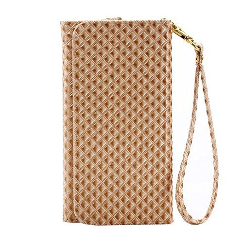 Wkae Case Cover 5-Zoll-Universal-Perlen-Grid Textur Ledertasche mit Geldbörse und Karten-Slots &Lanyard für iPhone 6 &6S / 5S / 5C, Samsung Galaxy E5 / A5 / J5 ( Color : Black ) Coffee
