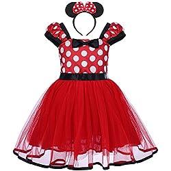Bebé Niña Vestido de Fiesta Princesa Disfraces Tutú Ballet Lunares Fantasía Vestid Carnaval Bautizo Cumpleaños Baile para Infantiles Recién Nacido Disfraces de Princesa con Diadema 3-4 Años