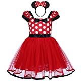 Infant Baby Toddlers Girls' Christmas Polka Dots Leotard Birthday Princess Bowknot Tutu Dress Xmas Cosplay Pageant Cute Mouse Dress Up Fancy Costume Party Outfits with 3D Ears Headband 2 Years