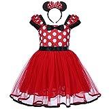 Déguisement Princesse Filles Bébé Enfant Robe Tutu à Pois avec Bandeau Serre-tête Bowknot Costume Tenue Justaucorp de Canaval Spectacle Anniversaire Rouge 4-5 Ans