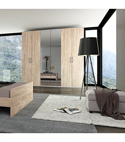 Inhouse srls armadio moderno in legno con 6 ante (4 ante quercia + 2 a specchio), 240x53 236h.