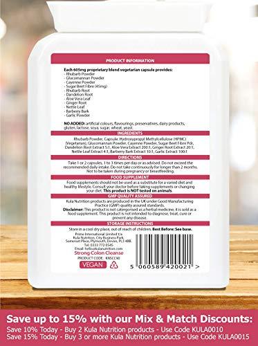 Gründliche Darmreinigung & Detox – 90 Kapseln – Kräuterformel – Enthält Rhabarber, Glucomannan & Cayennepulver Plus Rübenfaser Hilfe zur Erhöhung der Faecal Bulk &
