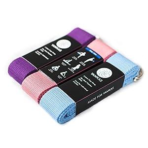 Yamkas Yoga Gurt 100% Bio Baumwolle | 1.8M – 3M Lang | Yogagurt mit Verschluss aus Metall | Yoga Strap Stretch Band