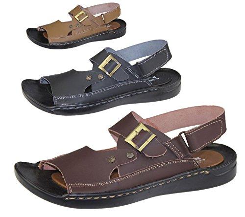 Herren veclro Verschluss Sandalen Sommer Casual Walking Beach Slipper Leder Beach Fashion Flip Flop Größe Braun