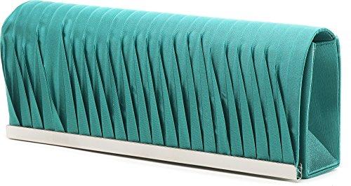 VINCENT PEREZ, Abendtaschen, Clutch, Umhängetaschen, Unterarmtaschen, Satin, Raffung, Metallleisten-Verzierung, 23x9,5x4,5cm (B x H x T) Grün (Smaragd)