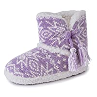 Slumberzz Childrens Girls Knitted Fairisle Tassel Slipper Boots Bootee - Pink Purple - Toddler Size UK 9/10, 11/12, 13/1, 2/3