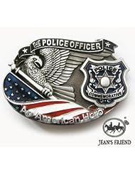 Cinturon de hebilla western vintage buckle fun hombre fiesta dorado El oficial de policía bandera americana orgullo