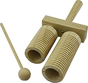 Percussion Workshop TC55 Natural Wood Double Wooden Agogo with Beater
