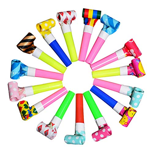 SUPVOX 20pcs Blowouts Noise Maker Whistles Toy Novelty Kids Children Party Favors Supplies for Party (Random Pattern)