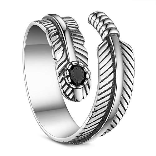 Shegrace anello di barretta della piuma dell'argento sterlina 925 con zircone aaa, regolabile