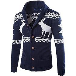 Jersey De Navidad Cardigan Hombre Suéter Cuello Alto Largo Marina de Guerra L