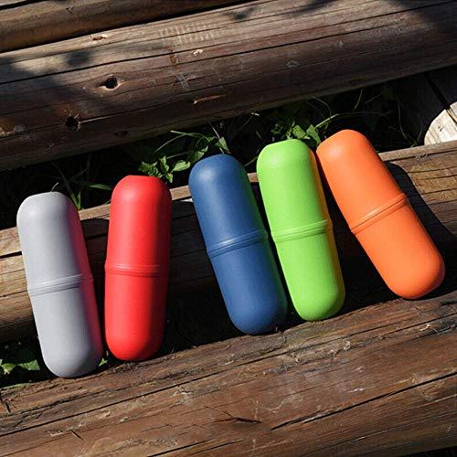 RED SHORE Reise Outdoor Zahnbürste Zahnpasta Flasche Portable Organizer Schützen Fall Aufbewahrungsbox Waschbecher für Tägliche Camping Sport Running Cup 3 in 1 (Azure) Azure-cup