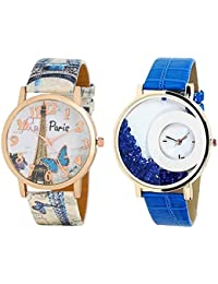 LegendDeal Paris Style Dial Round Shaped Leather Belt With Diamonds Inside (Pack Of 2) Watch -for Women & Girls