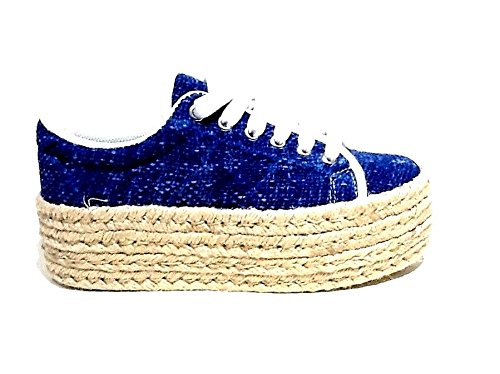 JC Play by Jeffrey Campbell scarpe da donna Sneakers con zeppa in rafia Zomg Jute - Blu-38