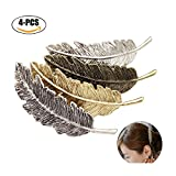 Fascigirl Haarspangen Damen, 4 Stücke Haarclips Haarspange Frauen Metall Federförmige Retro Haarspange mädchen Haarschmuck für Mädchen