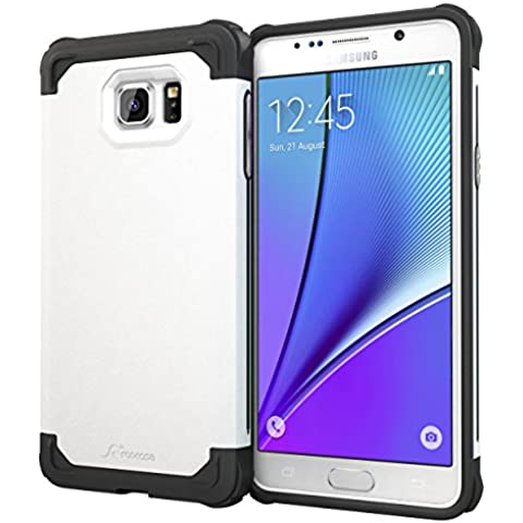 Galaxy Note5 Case, rooCASE [Exec Tough] Galaxy Note5 Slim Fit Funda Carcasa [Protección de la esquina] Armor Hybrid PC/TPU para Samsung Galaxy Note 5 (2015), plástico, blanco, Galaxy
