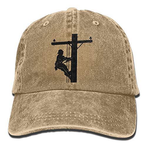 LinemOn A Pole Statue Adjustable Baseball Caps Denim Hats Cowboy Sport Outdoor -