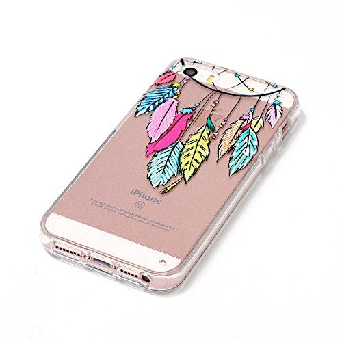 iPhone 5 Hülle, iPhone 5s Hülle, iPhone SE Hülle, E-Lush Beliebte Weiß Löwenzahn Muster für Apple iPhone 5 5S SE Telefonkasten TPU Silikon Rand Acryl Rückseite Abdeckung Handyhülle Clear Transparent S Traumfänger