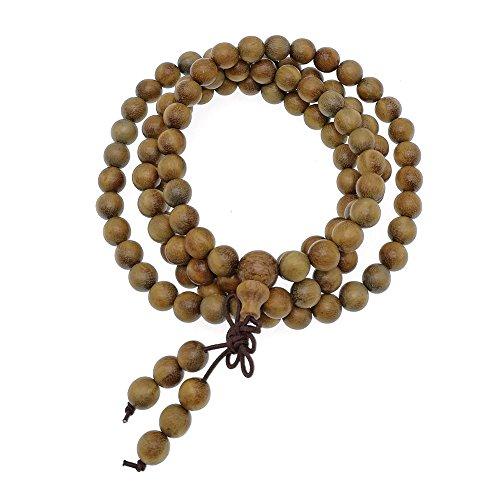 happeace 6mm natur duftenden grünen Sandelholz 108Mala Perlen-tibetischen Buddhismus Gebet Perlen für Frauen - Gebet Perlen Halskette Buddhismus