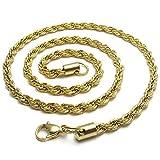 UM joyería 3mm Hombres Mujer Acero inoxidable collares Retorcido Oro Cuerda Cadena 55cm