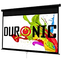 Duronic Manual Pull Down HD Projector Screen - Matte White Screen - Wall, Ceiling mountable