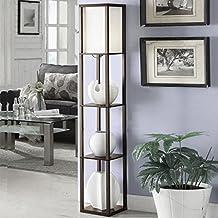 TangMengYun Lámpara de pie de madera moderna, lámpara estándar para sala de estar Sala de estudio de casa, iluminación interior con estante de 3 capas lámpara de piso ( Color : Brown , tamaño : 26*26*160CM )