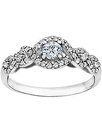 Silvernshine 0.69 Cttw White CZ Round Diamond 9k White Gold Over Wedding Engagement Ring