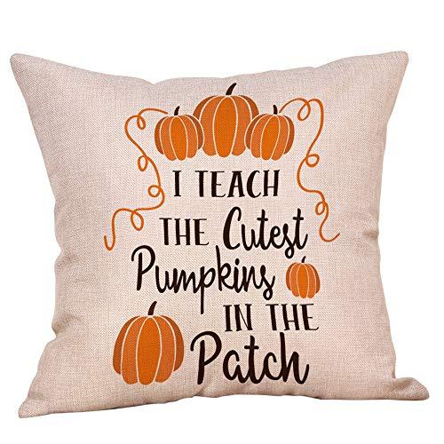 (Hjgshd Halloween Dekorative Kissenbezüge Baumwolle Leinen Kürbis Kissenbezug Home Decor 18