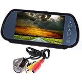 Rétroviseur avec Ecran TFT LCD 7'' (17,8 cm) + Caméra de recul 170 degrés pour Voiture Noir
