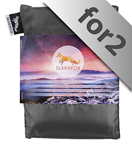Silkrafox-for-2-ultraleichter-Schlafsack-fr-2-Personen-Httenschlafsack-Inlett-Sommerschlafsack-Kunst-Seidenschlafsack-grau