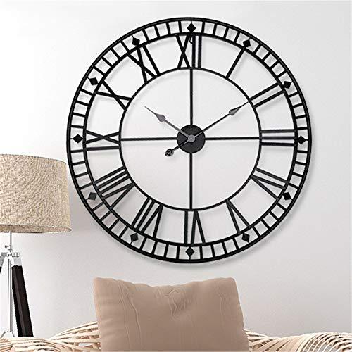 HMMSS Reloj de Pared Los de 80 cm 3D Retro Hierro Forjado muda número Romano Wall Clock de Silencio decoración de la Oficina del hogar del Reloj de Pared (Color : Black)